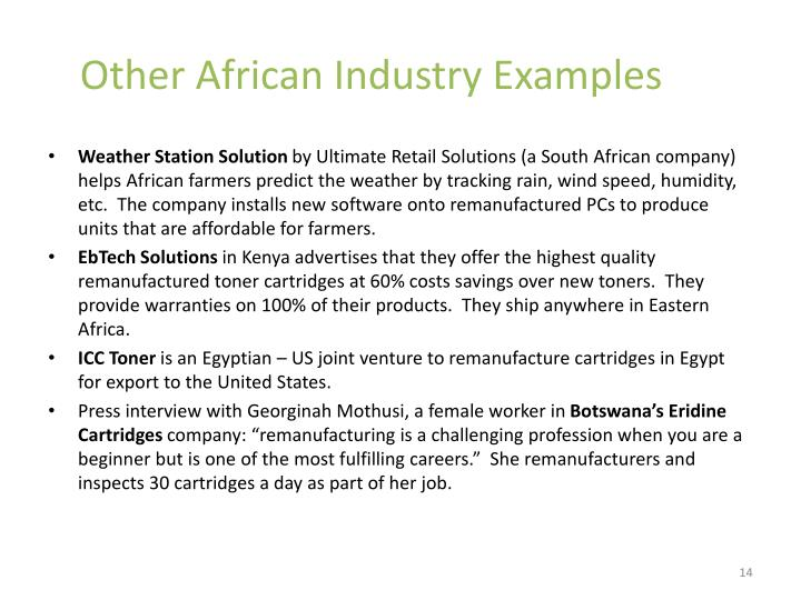Other African Industry Examples