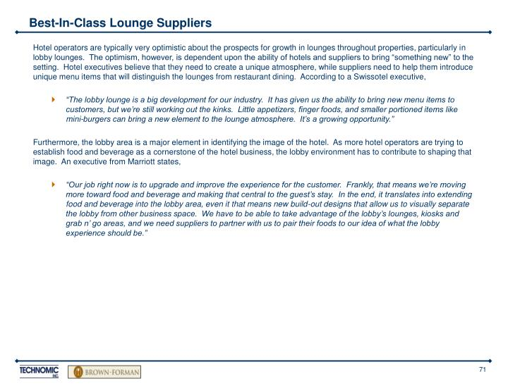Best-In-Class Lounge Suppliers
