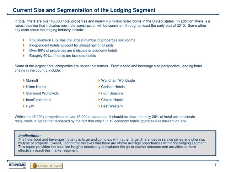 Current Size and Segmentation of the Lodging Segment