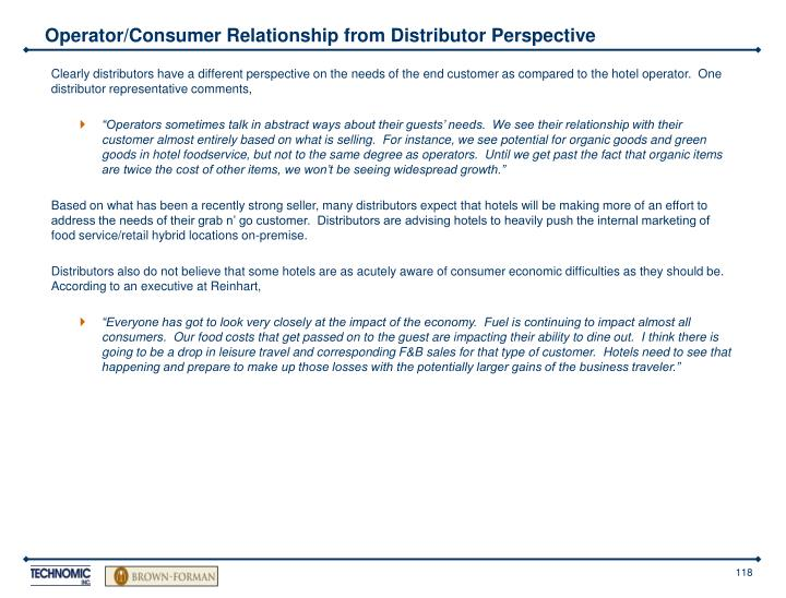 Operator/Consumer Relationship from Distributor Perspective