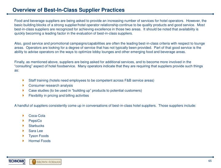 Overview of Best-In-Class Supplier Practices