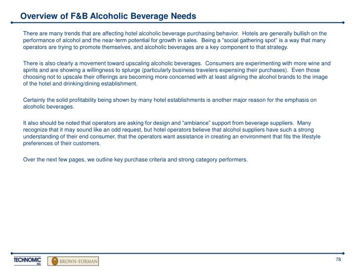 Overview of F&B Alcoholic Beverage Needs