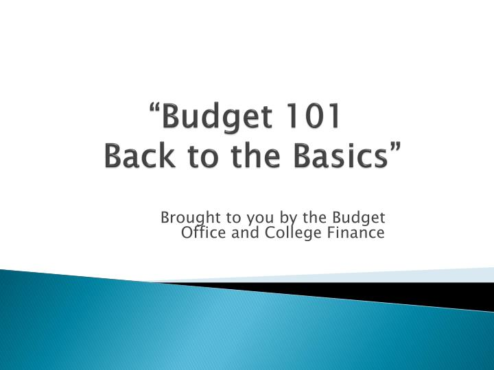 Budget 101 back to the basics