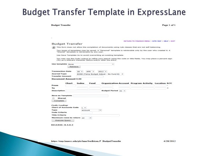 Budget Transfer Template in