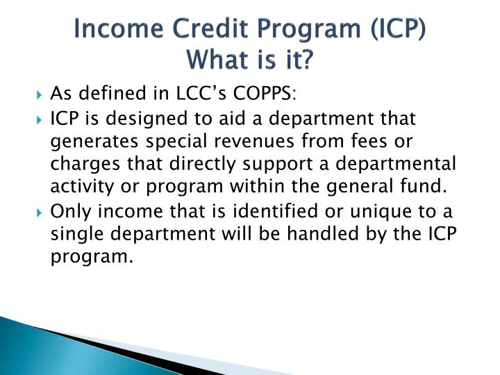 Income credit program icp what is it