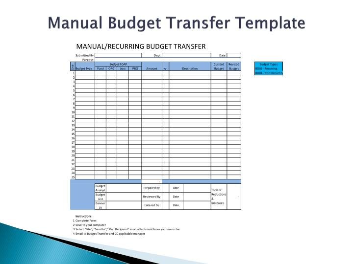 Manual Budget Transfer Template