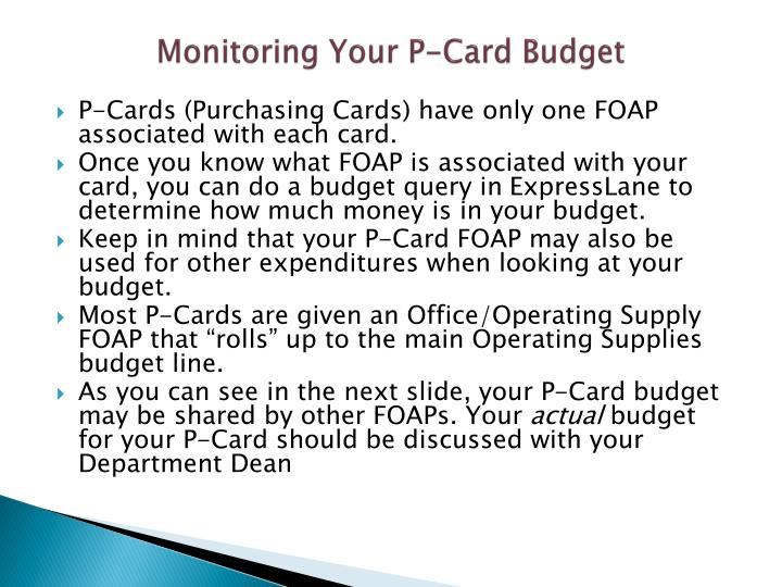Monitoring Your P-Card Budget
