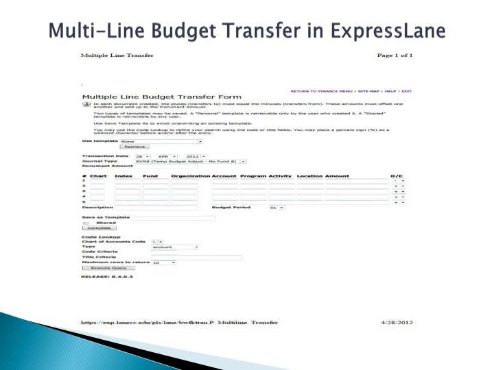 Multi-Line Budget Transfer in