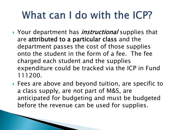 What can i do with the icp