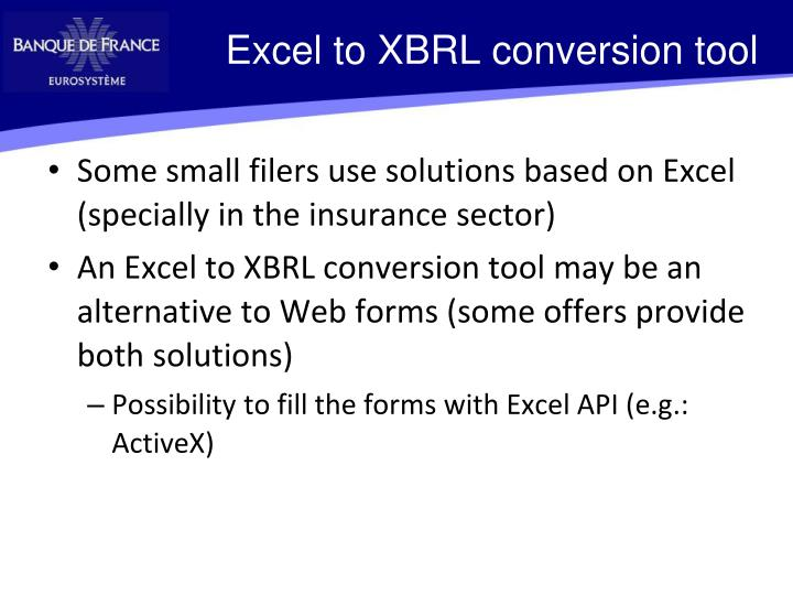 Excel to XBRL conversion