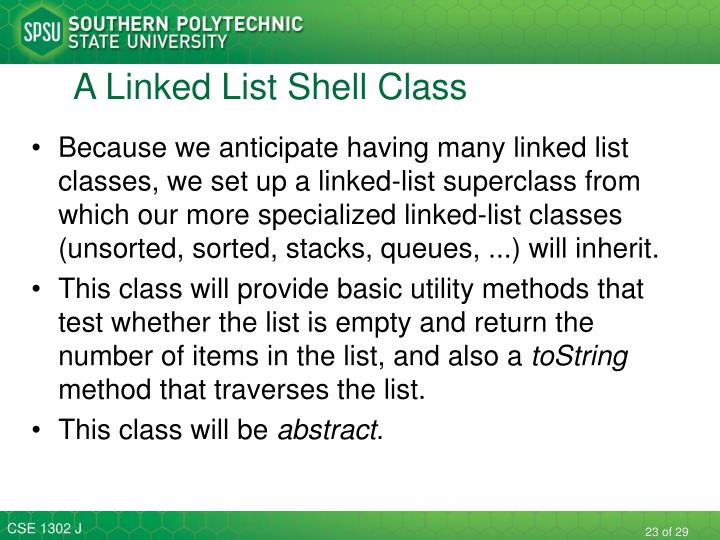 A Linked List Shell Class