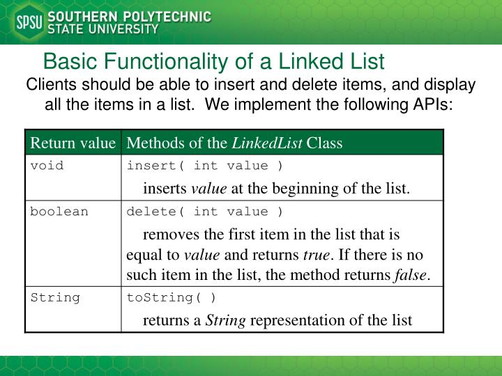 Basic Functionality of a Linked List
