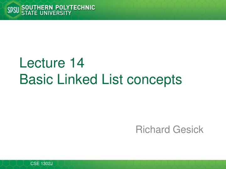 Lecture 14 basic linked list concepts