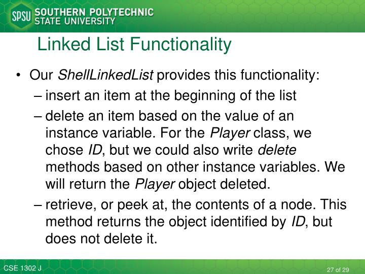 Linked List Functionality