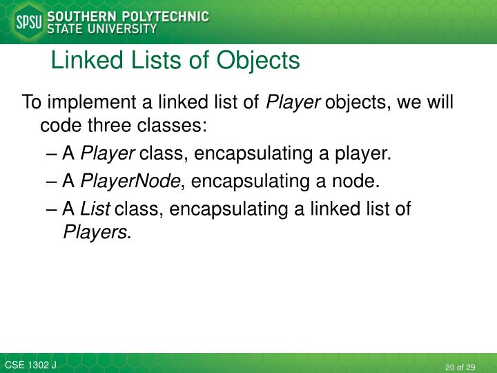 Linked Lists of Objects