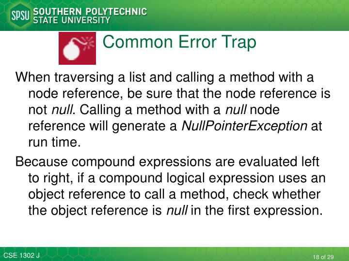 Common Error Trap