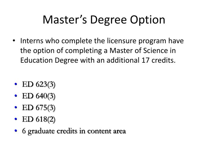 Master's Degree Option