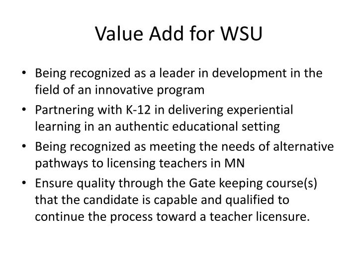 Value Add for WSU