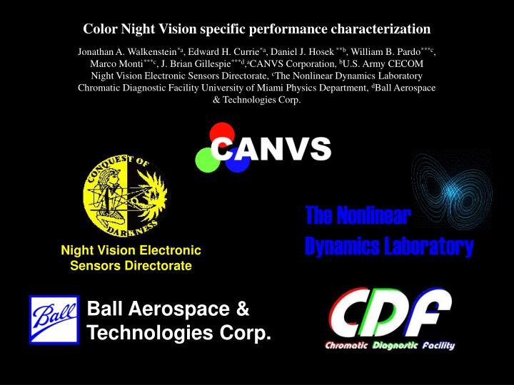 Color Night Vision specific performance characterization