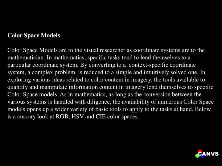 Color Space Models
