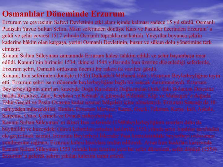 Osmanlılar Döneminde Erzurum