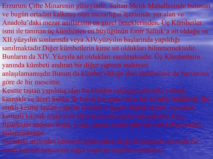 Erzurum Çifte Minarenin güneyinde, Sultan Melik Mahallesinde bulunan ve bugün ortadan kalkmış olan mezarlığın içerisinde yer alan ve Anadolu'daki mezar anıtlarının en güzel örneklerinden, Üç Kümbetler ismi ile tanınan üç kümbetten en büyüğünün Emir Saltuk'a ait olduğu ve XII.yüzyılın sonlarında veya XIV.yüzyılın başlarında yapıldığı sanılmaktadır.Diğer kümbetlerin kime ait oldukları bilinmemektedir.