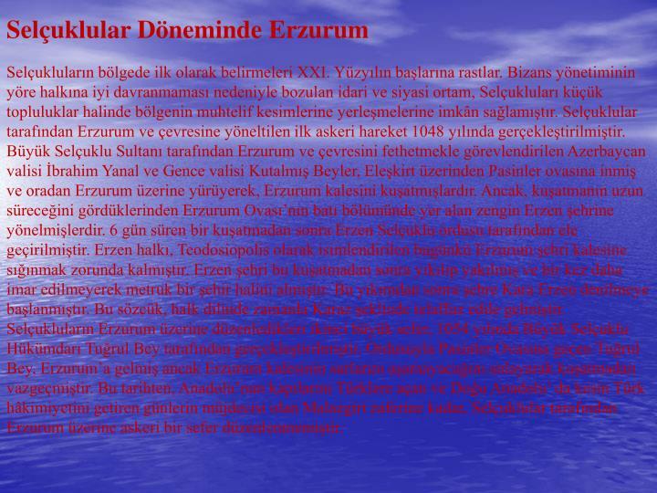 Seluklular Dneminde Erzurum
