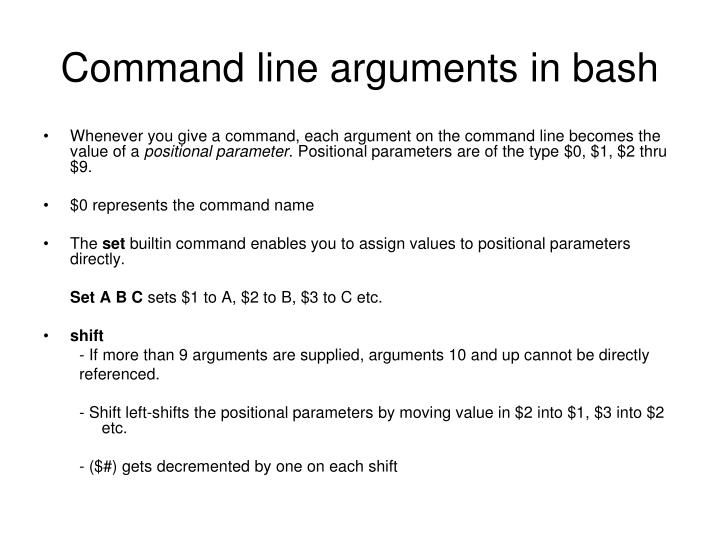 Command line arguments in bash