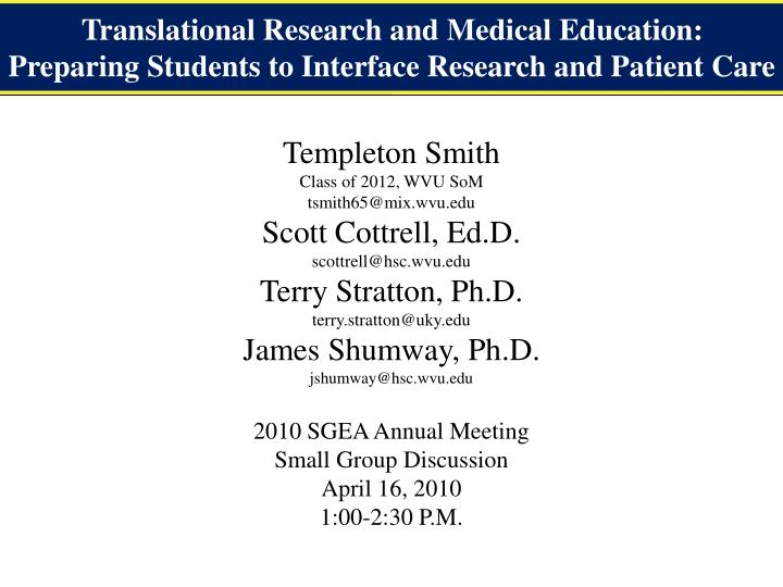 Translational Research and Medical Education: