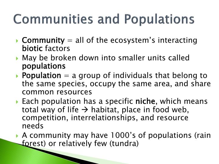 Communities and Populations