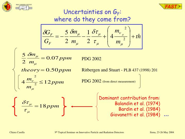 Uncertainties on G