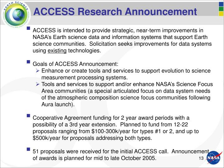 ACCESS Research Announcement