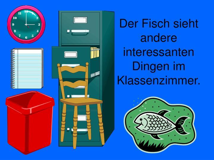 Der Fisch sieht andere interessanten Dingen im Klassenzimmer.
