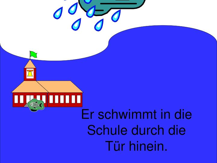 Er schwimmt in die Schule durch die Tür hinein.
