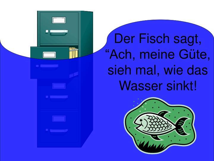 """Der Fisch sagt, """"Ach, meine Güte, sieh mal, wie das Wasser sinkt!"""