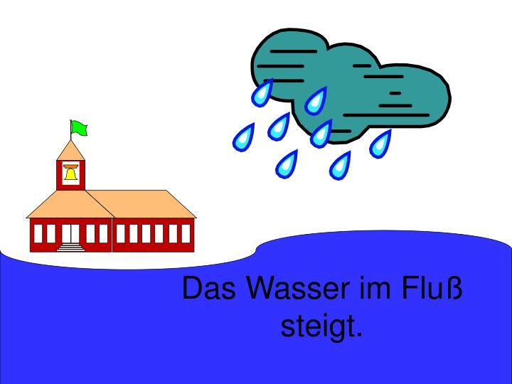 Das Wasser im Fluß steigt.