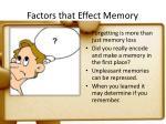 factors that effect memory