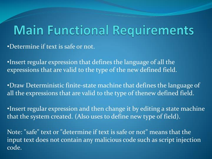 Main Functional Requirements