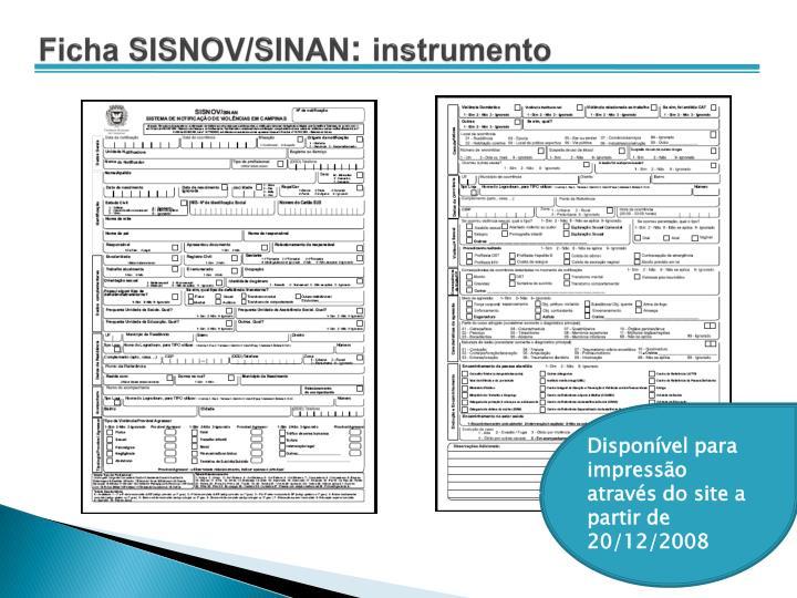 Ficha SISNOV/SINAN