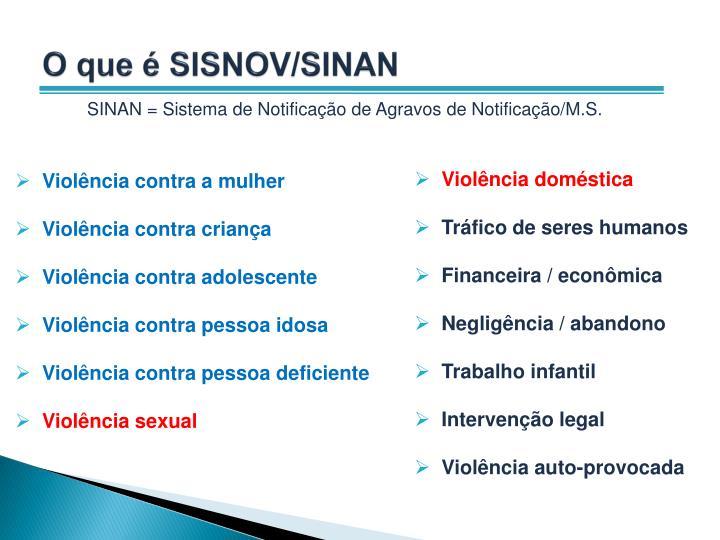 O que é SISNOV/SINAN