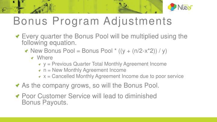 Bonus Program Adjustments