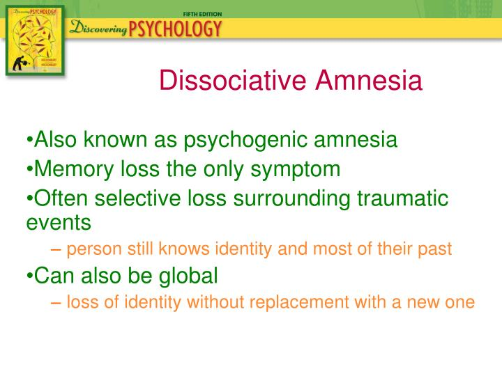 Also known as psychogenic amnesia