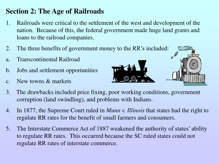 Section 2: The Age of Railroads