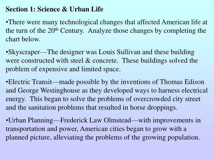Section 1: Science & Urban Life