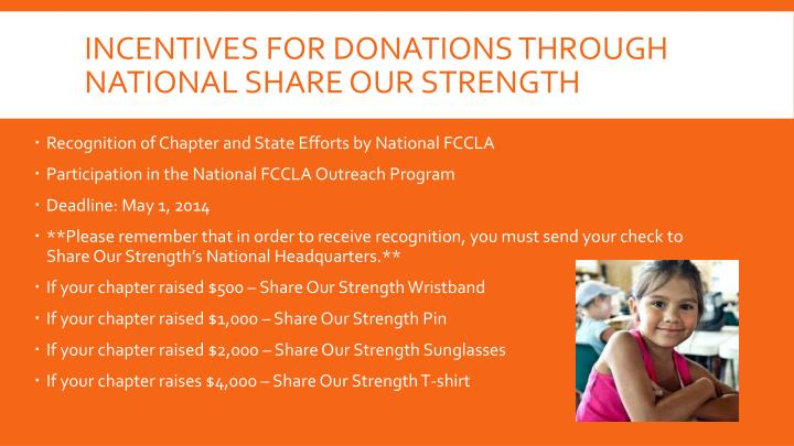 Incentives for Donations through National share our strength