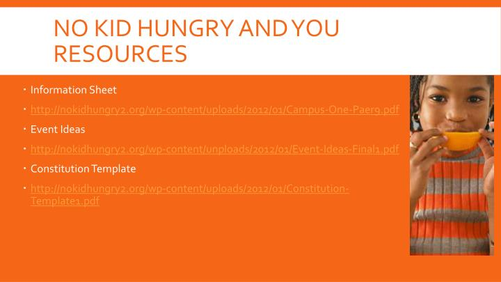 No Kid Hungry and you resources