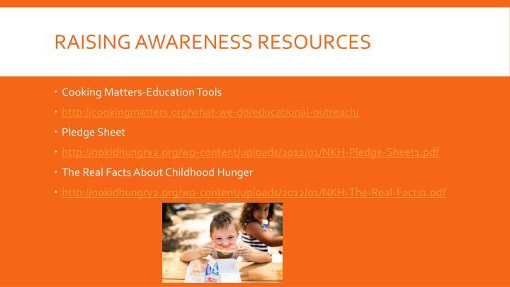 Raising Awareness resources