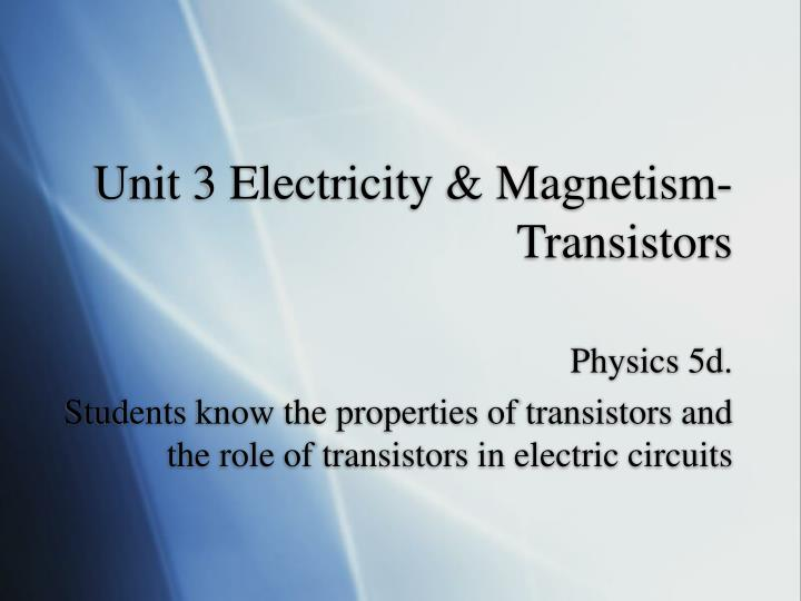 Unit 3 Electricity & Magnetism-