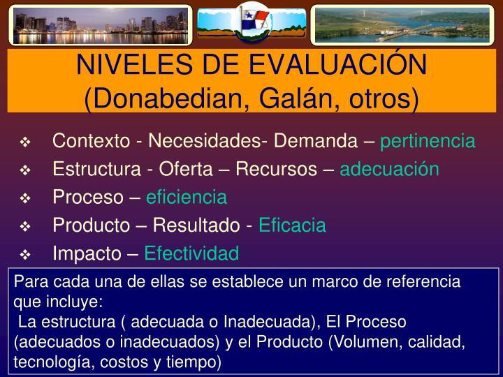 NIVELES DE EVALUACIÓN