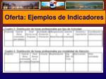 oferta ejemplos de indicadores